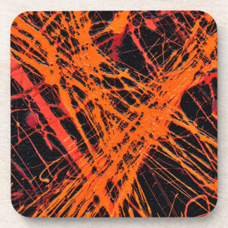 THE ORANGE WEB (an abstract art design) ~ Drink Coasters