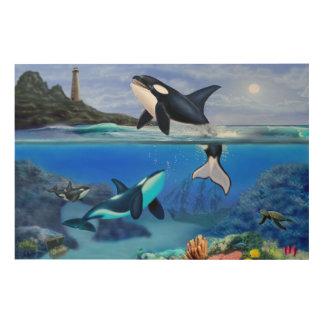 The Orca Family Wood Wall Art