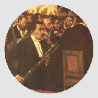 The Orchestra of Opera by Edgar Degas, Vintage Art Classic Round Sticker