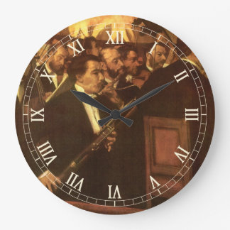 The Orchestra of Opera by Edgar Degas, Vintage Art Large Clock
