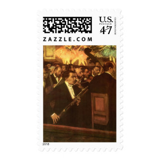 The Orchestra of Opera by Edgar Degas, Vintage Art Postage Stamp