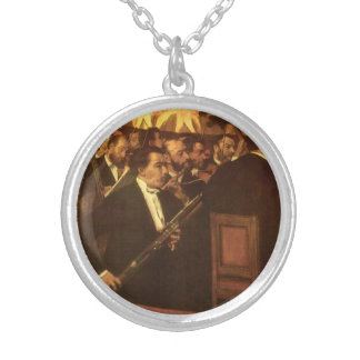 The Orchestra of Opera by Edgar Degas, Vintage Art Round Pendant Necklace