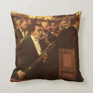 The Orchestra of Opera by Edgar Degas, Vintage Art Throw Pillow