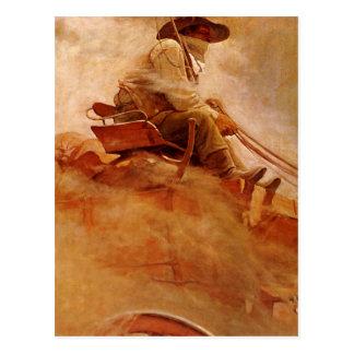 The Ore Wagon by NC Wyeth Vintage Cowboys Postcard