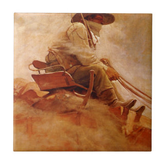 The Ore Wagon by NC Wyeth, Vintage Cowboys Small Square Tile