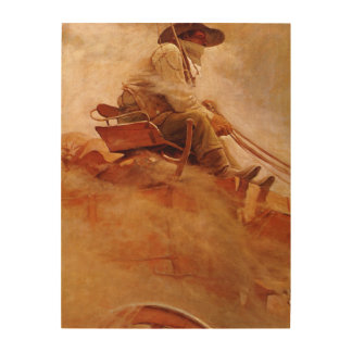 The Ore Wagon by NC Wyeth Vintage Cowboys Wood Canvases