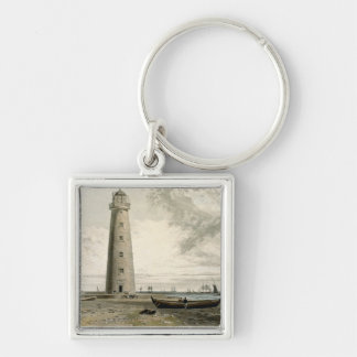 The Orford Nefs Lighthouses, Suffolk, from Volume Silver-Colored Square Keychain