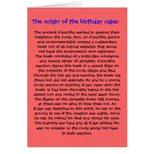 The Origin of the Birthday Cake Birthday Card
