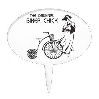 The original biker chick, vintage bike and female cake topper