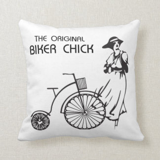 The original biker chick, vintage bike and female pillow