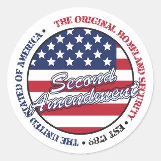 The original homeland security - Second amendment Round Sticker