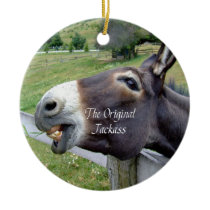 The Original Jackass Funny Donkey Mule Farm Animal Ceramic Ornament