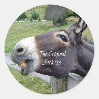 The Original Jackass Funny Donkey Mule Farm Animal Classic Round Sticker