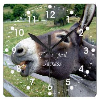 The Original Jackass Funny Donkey Mule Farm Animal Square Wallclock