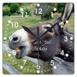 The Original Jackass Funny Donkey Mule Farm Animal Square Wall Clock at Zazzle