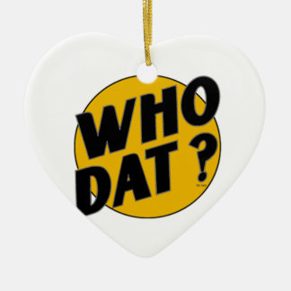 """The Original Vintage """"Who Dat?"""" Double-Sided Heart Ceramic Christmas Ornament"""