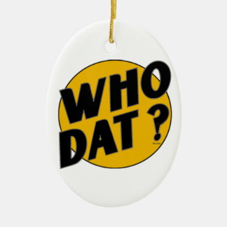 """The Original Vintage """"Who Dat?"""" Double-Sided Oval Ceramic Christmas Ornament"""