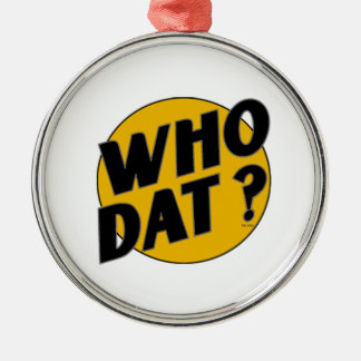 """The Original Vintage """"Who Dat?"""" Round Metal Christmas Ornament"""