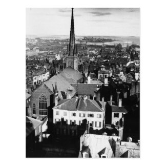The ornamented spire of a church in Boston Postcard