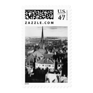 The ornamented spire of a church in Boston Stamp