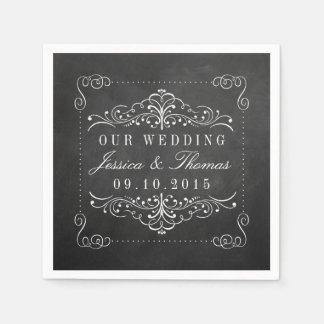 The Ornate Chalkboard Wedding Collection Standard Cocktail Napkin