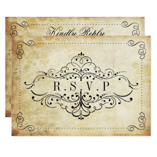 The Ornate Flourish Vintage Wedding Collection Card at Zazzle