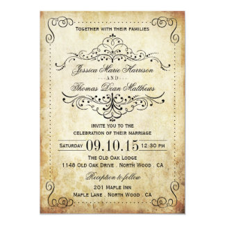 The Ornate Flourish Vintage Wedding Collection 5x7 Paper Invitation Card