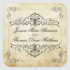 The Ornate Flourish Vintage Wedding Collection Square Sticker