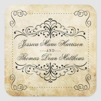 The Ornate Flourish Vintage Wedding Collection Square Stickers