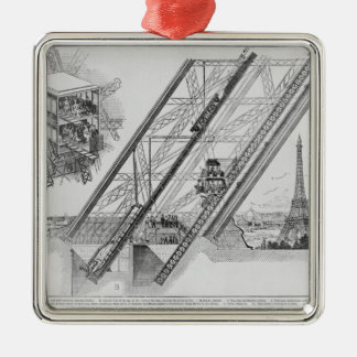 The Otis Elevator in the Eiffel Tower Metal Ornament