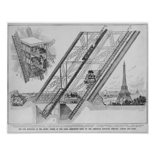the otis elevator in the eiffel tower poster zazzle. Black Bedroom Furniture Sets. Home Design Ideas