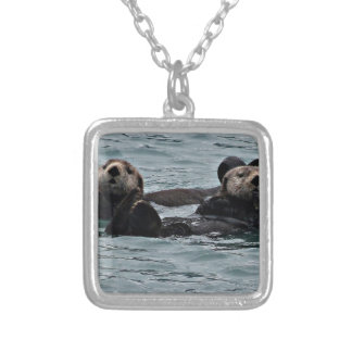 The otter Couple Silver Plated Necklace