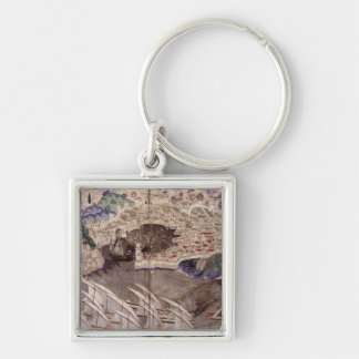 The Ottoman Fleet Silver-Colored Square Keychain