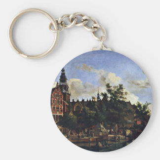 The Oudezijds Voorburgwal And The Oude Kerk In Ams Keychains