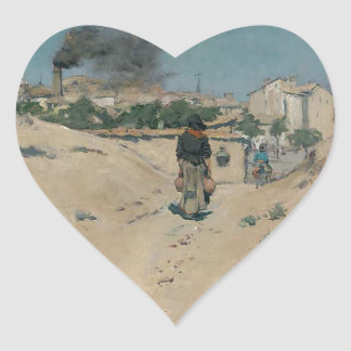 The Outskirts of Madrid by William Merritt Chase Heart Sticker
