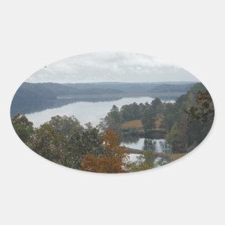 The Overlook, Autumn At Lake Arrowhead Oval Sticker