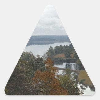 The Overlook, Autumn At Lake Arrowhead Triangle Sticker