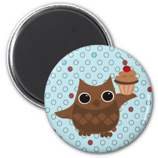 The Owl and the Cupcake 2 Inch Round Magnet