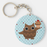 The Owl and the Cupcake Basic Round Button Keychain