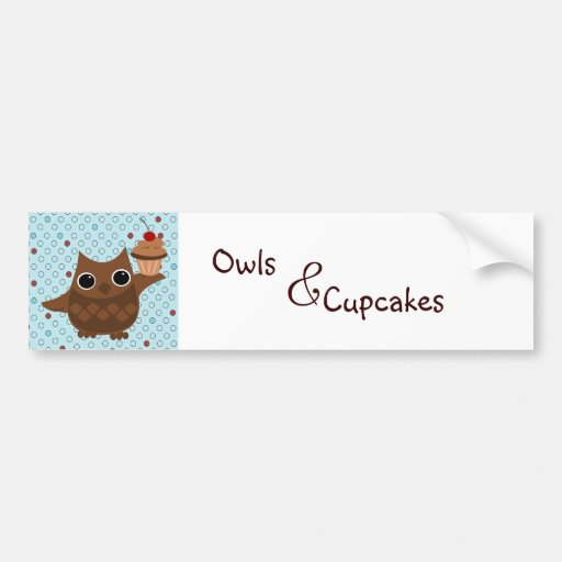 The Owl and the Cupcake Car Bumper Sticker