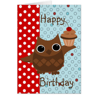 The Owl and the Cupcake Greeting Cards