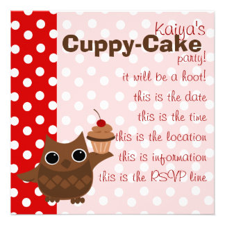 The Owl and the Cupcake Invitations