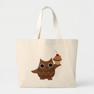 The Owl and the Cupcake Large Tote Bag