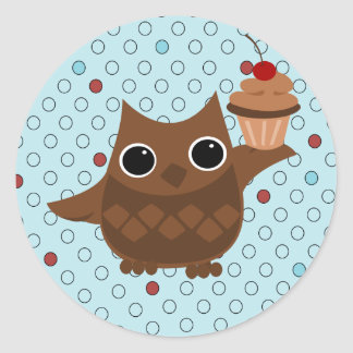 The Owl and the Cupcake Round Sticker