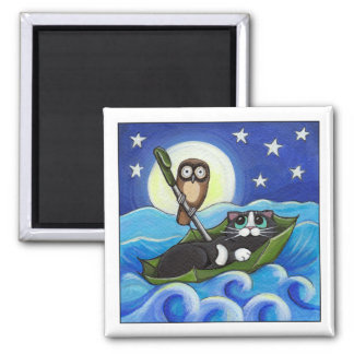 The Owl and the Pussycat | Whimsical Cat Art 2 Inch Square Magnet