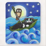 The Owl and the Pussycat | Whimsical Cat Art Mouse Pad
