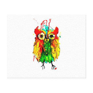 The owl - brightly coloured owl canvas