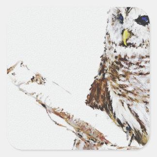 the owl came square sticker