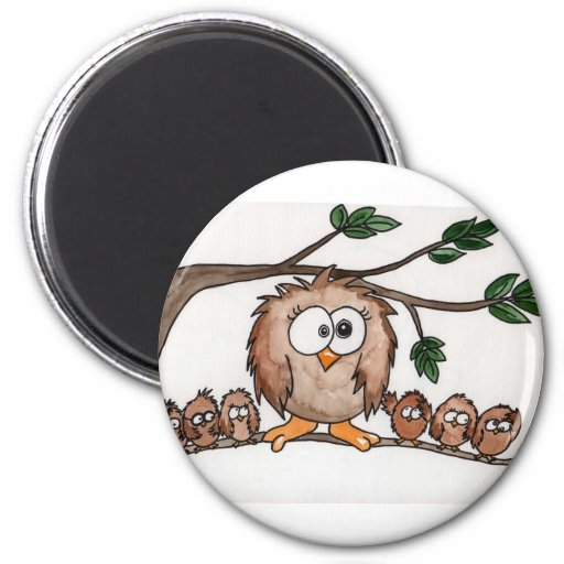 The Owl Family 2 Inch Round Magnet