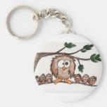 The Owl Family Basic Round Button Keychain